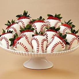 Strawberries designed to be baseballs. Perfect for spring and the kids first game!