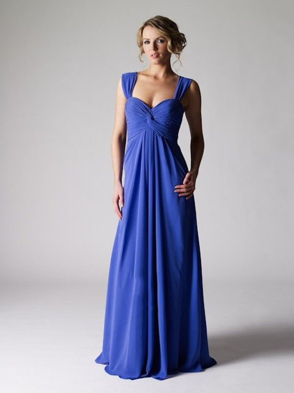 Claasic Straps Tiered Chiffon Floor Length Zipper Blue Formal Dress With A Match Jacket