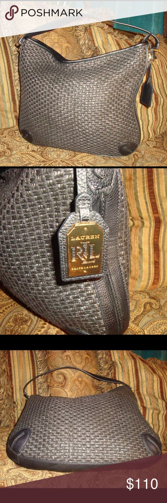 """Black Wicker Ralph Lauren Hobo Shoulder Bag Black Wicker Ralph Lauren Hobo Shoulder Bag measures 15"""" X 2"""" x 12 1/2"""" and has a single strap with a 9"""" strap drop. This bag closes with a zipper and has an inside zip, snap and two slip pockets. This is a great bag. Lauren Ralph Lauren Bags Hobos"""