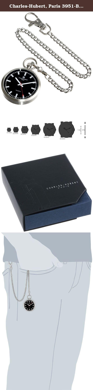 Charles-Hubert, Paris 3951-B Premium Collection Analog Display Japanese Quartz Pocket Watch. Stainless steel open face Quartz. Black dial. Japanese Quartz movement. Deluxe gift box. Not water resistant.