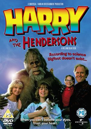 """Harry and the Hendersons 1987...Cute movie! Returning home from vacation, the Hendersons accidentally run over a strange Bigfoot-type animal. They decide to take the friendly """"Harry"""" home, but soon they're scrambling to hide their new friend from authorities and Bigfoot hunters. Cast: John Lithgow, Melinda Dillon...9,15"""
