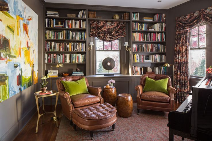 Library - Music Room - Leather club Chairs - Ottoman - Gold Round Side Table - Brass Floor Lamp - Reading Lamp - Burl Wood - Stool - Piano - Art - Built - In Bookshelves - rug - Brown - Salmon - Coral - Gray - Asian