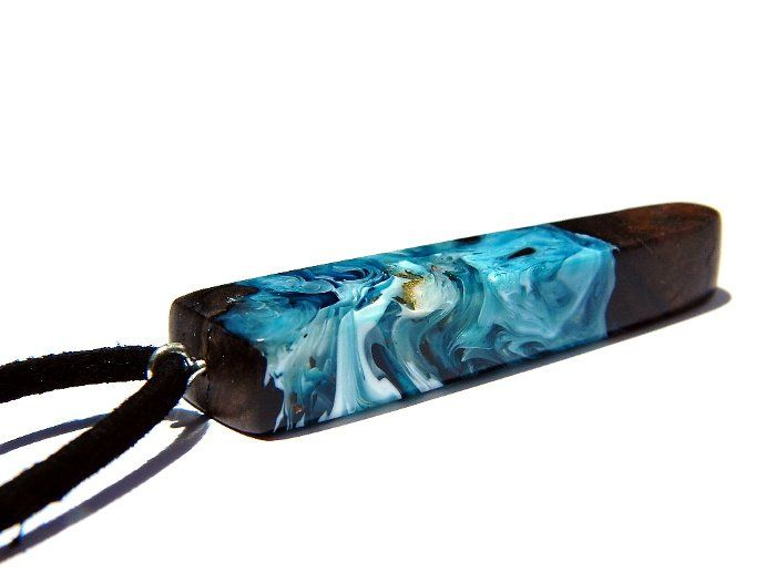 Lurie Studio — Wood and resin small blue marbled pendant