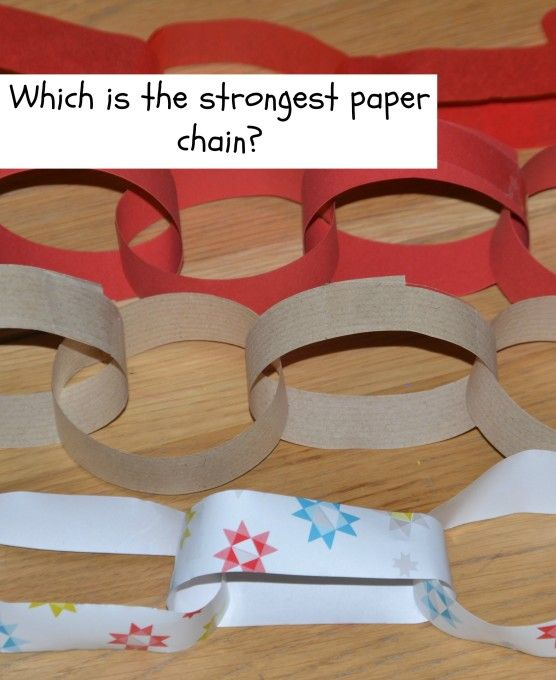 Which material makes the strongest paper chain - what a fun idea for holiday themed science!