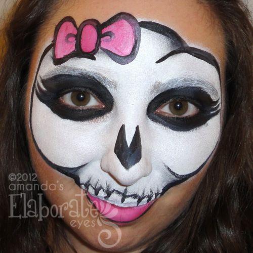 girly skull halloween face paint