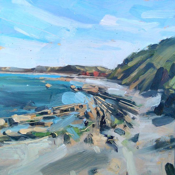 Landscape Painting Plein Air: 'Wave Cut Platform', oil on board by Hester Berry