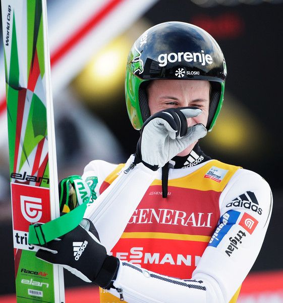 Peter Prevc Photos Photos - Peter Prevc of Slovenia reacts after his first competition jump on Day 2 of the 64th Four Hills tounament on January 1, 2016 in Garmisch-Partenkirchen, Germany. - 64th Four Hills Tournament - Garmisch-Partenkirchen Day 2