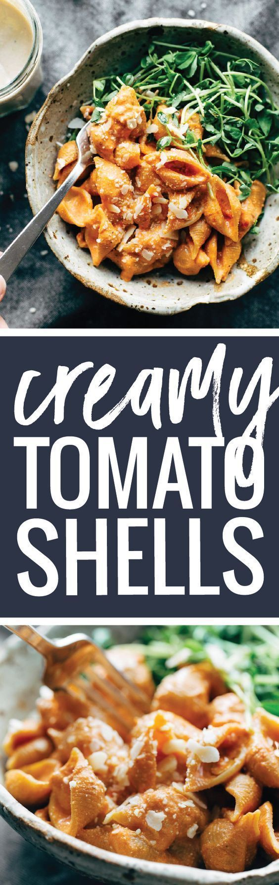 Three Ingredient Creamy Tomato Shells - this trick will make your pasta sauces creamy, velvety, and nutritious with no butter or cream! | http://pinchofyum.com