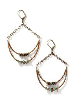 The brass chain earrings suspend double crescents strung with glass beads and semiprecious orbs.