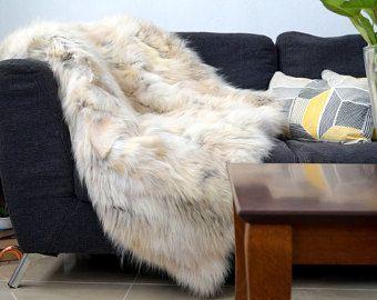 Wolf Fur Blanket! Throw! Fur Rug!