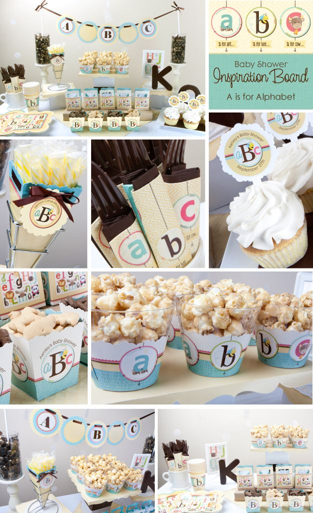 ABC Alphabet Baby Shower Theme Ideas #BigDot #HappyDot #BabyShowerIdeas