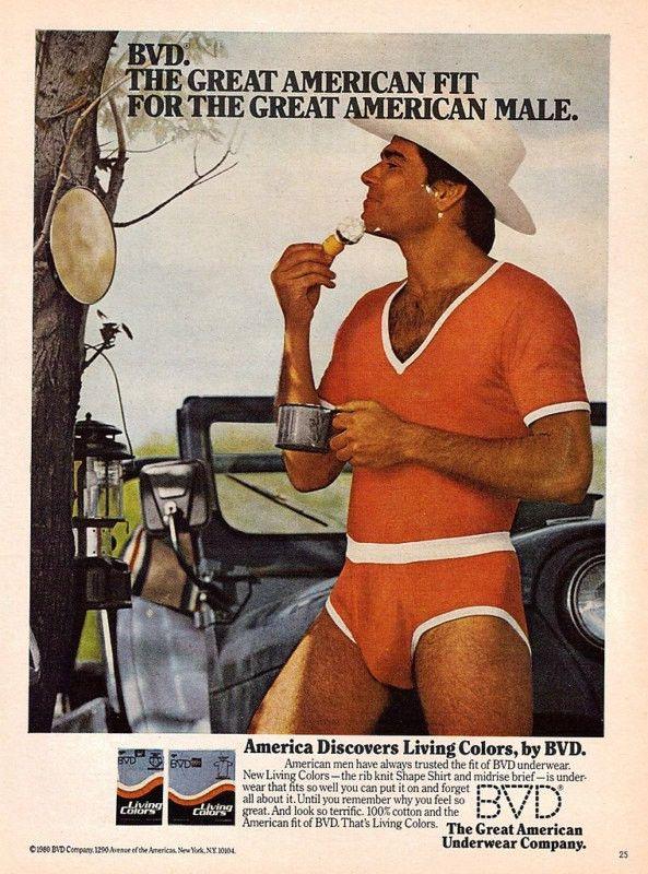 """1980 BVD Underwear Ad """"Shaving Cowboy & Jeep"""""""