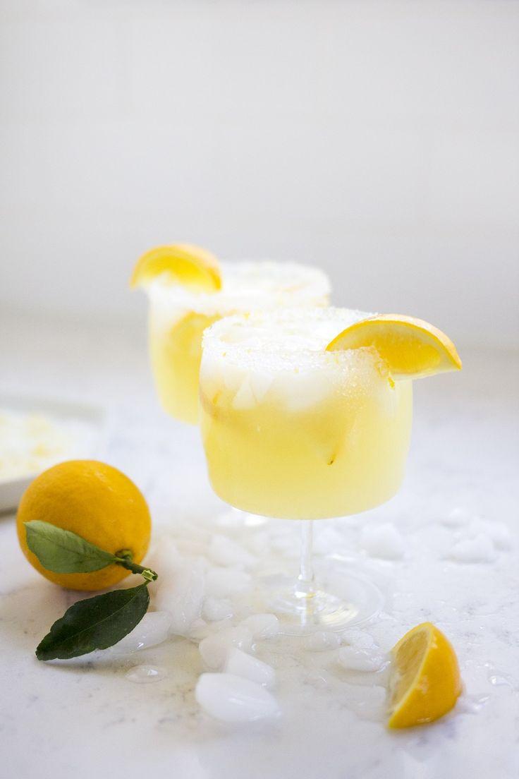 Meyer Lemon Margaritas with a sugar-salt rim.