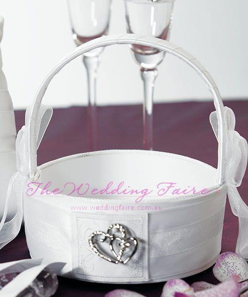 Classic Double Heart Flower Girl Basket - White - The Wedding Faire