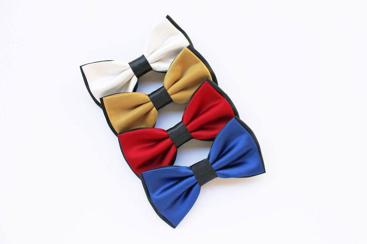Papillon bianco e nero,blu reale e nero,rosso e nero,oro e nero,farfallino per uomo,accessori matrimonio,papillon elegante per lo sposo 2017 di ScoccaPapillon su Etsy