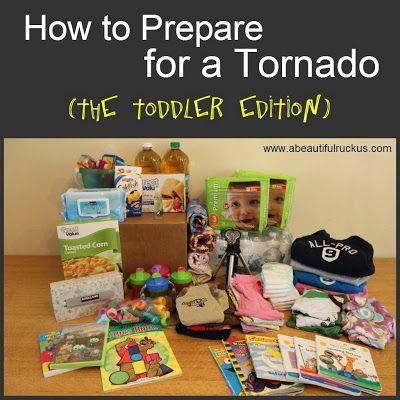 How to prepare for a tornado. Has a great list of toddler-friendly items to have in a box in case of a tornado. Items include things to entertain toddlers, things for safety, and emergency backups.
