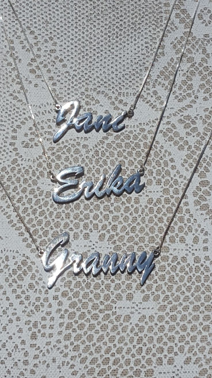 Customised handcrafted silver name necklaces