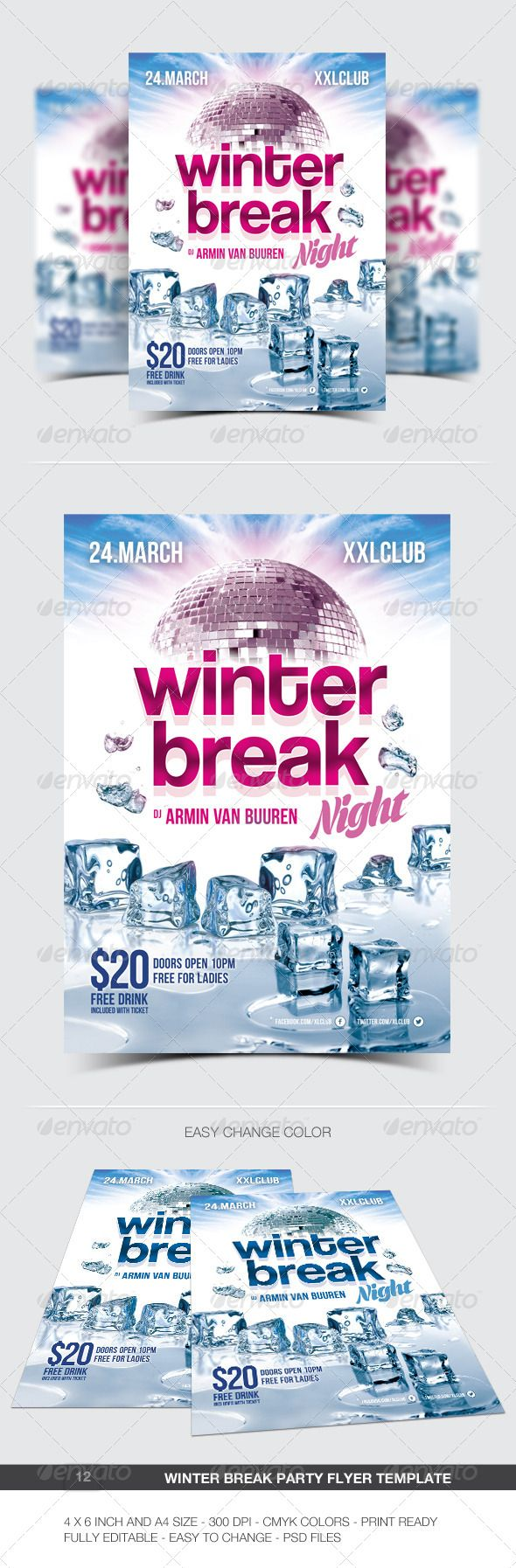 Winter Break Party Flyer / Poster - 12 #a4 #blue #break #christmas #club #concert #dance #disco #dj #electro #electronic #event #flyer #frozen #ice #melting #minimal #modern #music #night #nightclub #party #poster #print #snow #white #winter #winter night #xmas #winterbreak #ice