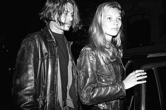 Johnny Depp And Kate Moss. Matching leather - I like it!