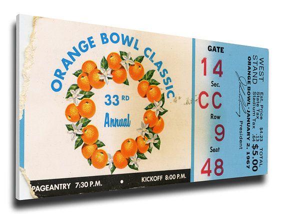 1967 Orange Bowl Canvas Mega Ticket - Florida Gators