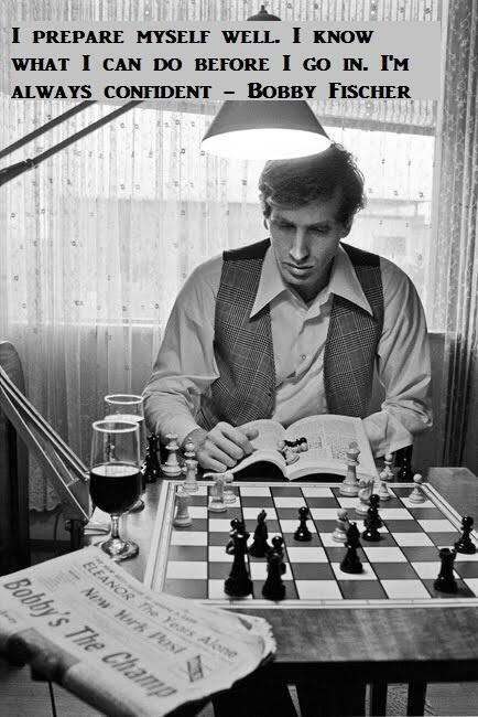 Bobby Fisher with chess board