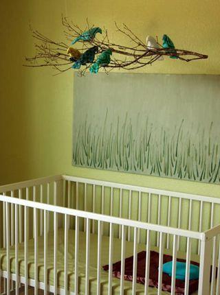 bird and stick DIY mobile: Crib Mobiles, Baby Mobiles, Birds Mobiles, Cute Ideas, Trees Branches, Diy Mobiles, Cribs Mobiles, Baby Rooms, Modern Crib