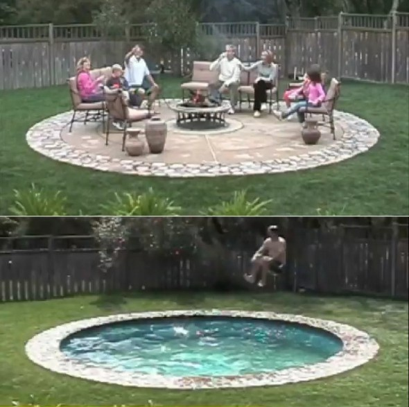 No idea how this works, but someday I want one. Swimming pool by day, fire pit patio by night! Brilliant!