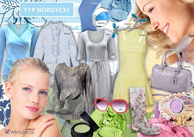 Typ nordycki - barwy tęczowego nieba. Jedynie subtelne desenie, krateczka vichy, łączki na jasnym tle, pionowe prążki, skandynawskie, folklorystyczne wzory (na swetrach i dzianinach), desenie impresjonistyczne. Styl to m. in.: męski (szare garsonki, spodnium w białe prążki), marynarskie inspiracje, pasterski look [hm biała bawełna i len, koronki], sportowy klimat (np. tenis), pastelowa i czarna satyna, tafta, szyfon - na wieczór. Biżuteria  delikatna, gładka, nowoczesna.