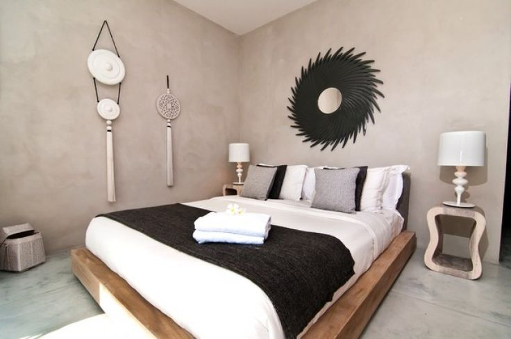 Modern minimalistic bedroom with cement walls | Luxury Holiday Villa, Seminyak