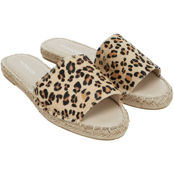 Monsoon Lana Leopard Espadrille Mules ($60) ❤ liked on Polyvore featuring shoes, leopard mules, leopard slip on shoes, slip on mule shoes, slip on mules and espadrille shoes
