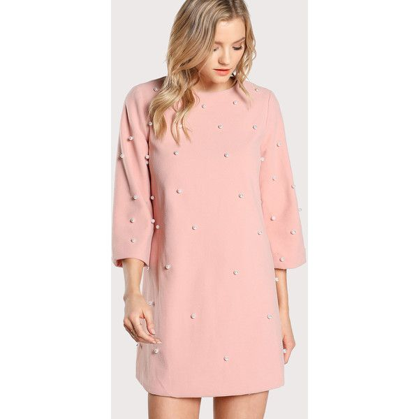SheIn(sheinside) Pearl Embellished Tunic Dress (€23) ❤ liked on Polyvore featuring dresses, pink, long sleeve short dress, pearl pink dress, long sleeve day dresses, short sleeve dress and short-sleeve shift dresses
