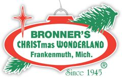Love Bronners: The World's Largest Christmas Store in Frankenmuth, Michigan - ornaments, lights, decorations and trees, Christmas lights, personalized ornaments, artificial trees, Nativity scenes, Christmas decorations, Christmas stockings and hangars.