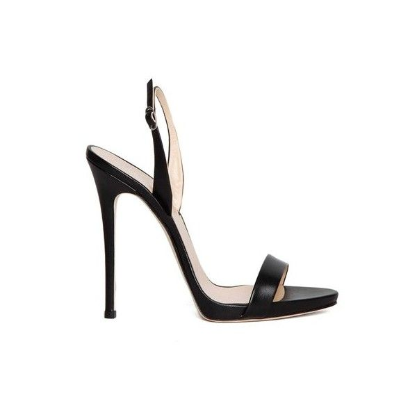Giuseppe Zanotti Design 'Coline' Leather Sandals (3,640 SVC) ❤ liked on Polyvore featuring shoes, sandals, heels, scarpe, black, ankle strap sandals, black heel sandals, black sandals, ankle wrap sandals and leather slingback sandals