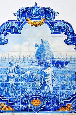 Tiles from the railway station of Vila Franca de Xira depicting the ...