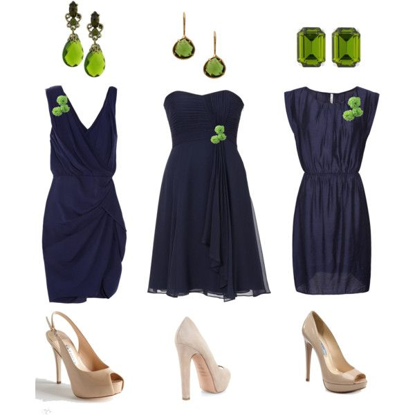 Not the navy and green- just love the way the accessories tie the different bridesmaid dresses together (Reminder)