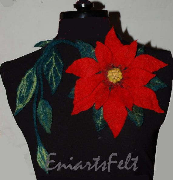 Felted flower red poinsettia necklace  Fiber art necklace