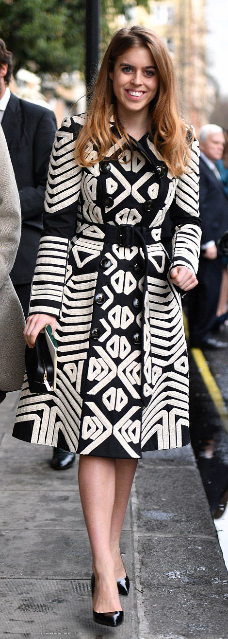 Princess Beatrice recycled a £2,995 black and white Burberry coat as she attended the socialite wedding in west London on February 4, 2017
