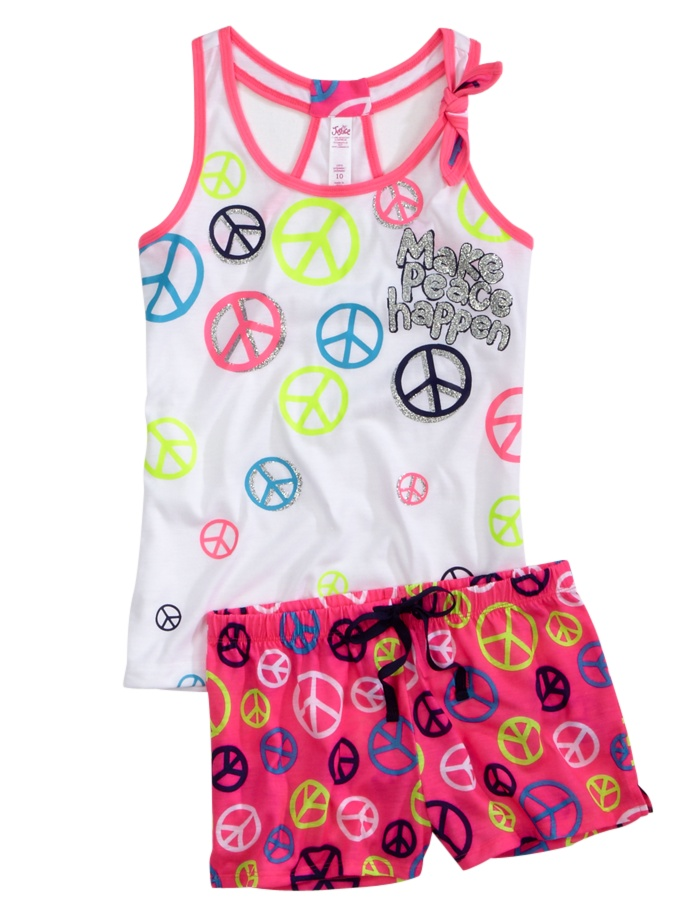 Peace Sign Tank/Short Pajama Set | Short Sets | Pajamas | Shop Justice Size 7