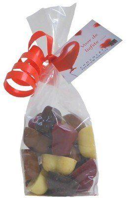 Voor de Liefste Chocolade Harten Mix - mix massieve harten - 150g