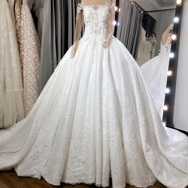 Couture Ballgown With Long Sleeve And Dramatic Train Princess Etsy Wedding Dresses Ball Gowns Dresses