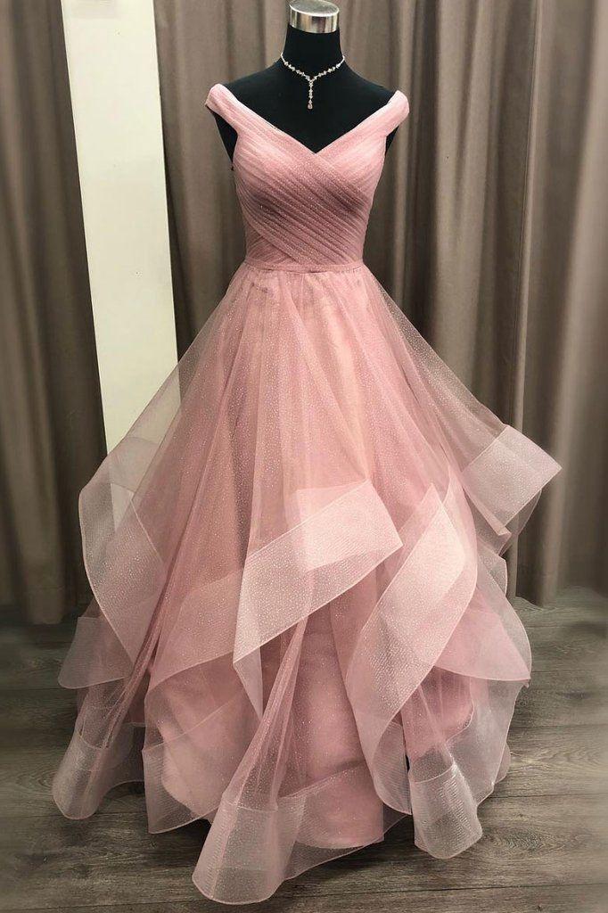 Einfache rosa Tüll V-Ausschnitt lange Rüschen eine Linie Abendkleid, formale …   – Evening dress