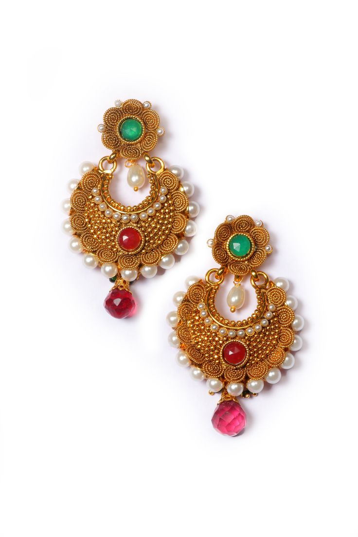 Exclusive Multicolor Pearl Traditional Earring