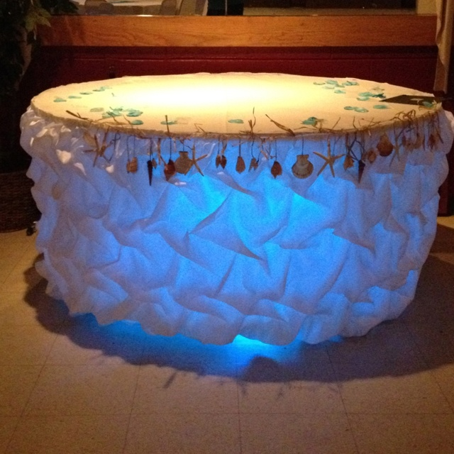 Wedding Cake Table With Lights : Wedding Cake Table With Gathering Skirt Up  Lighting By Event