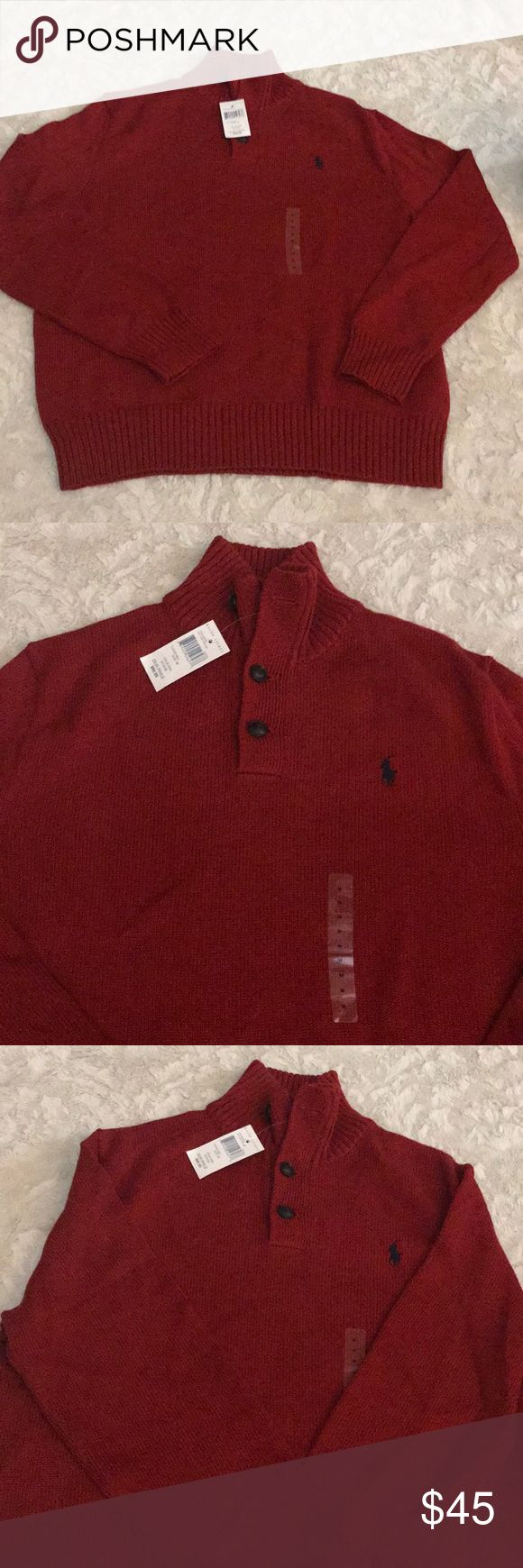 Polo Ralph Lauren Red Sweater Sz M New with tags  Polo Ralph Lauren Red sweater  Size Medium  Original price $90   Please check my other listings i do combine shipping  Location : Winter Box Polo by Ralph Lauren Sweaters