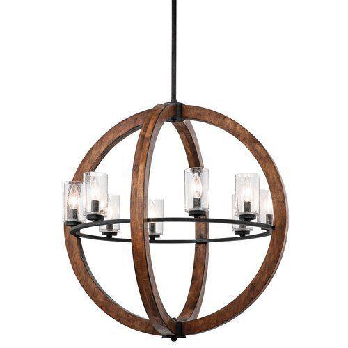 Kichler Grand Bank 8 Light 28 Wide Chandelier with Seedy Glass Shades - Auburn