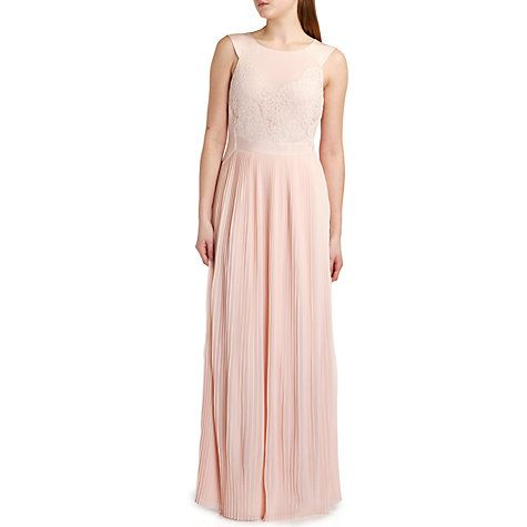 Buy Ted Baker Bai Micro Pleated Skirt Maxi Dress, Nude Pink Online at johnlewis.com
