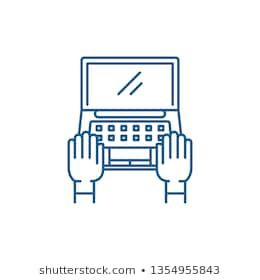 Computer work line icon concept. Computer work flat vector symbol, sign, outline illustration. #business, #businessman, #communication, #computer,