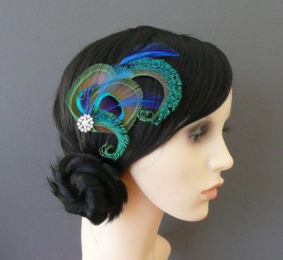 Peacock Feather Hair Clip Royal Blue by AFeatheredAffairUK on Etsy