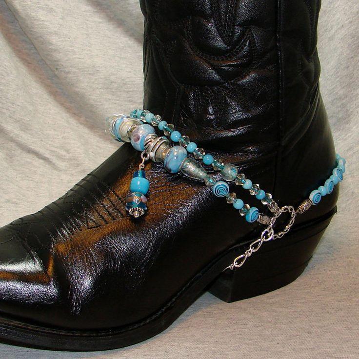 Sky Blue Beaded Boot Bracelet by BlackBunnyBeads on Etsy