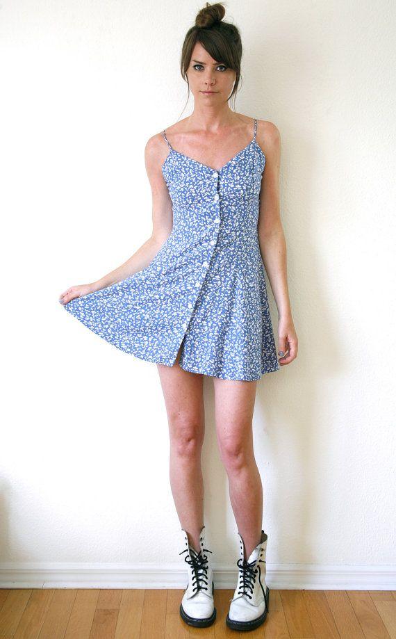Periwinkle Mini Dress Spaghetti Strap Tank Dress Boho Grunge Cherry Print Pattern Vtg 90s